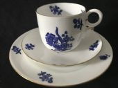 Royal Crown Derby c1880 blue & white tea trio